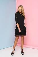 Женское нарядное платье с рюшами, чёрное, креп костюмный, размеры от 44 до 48
