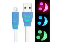 Кабель USB - Micro USB шнур светящийся 1м цвет в ассортименте