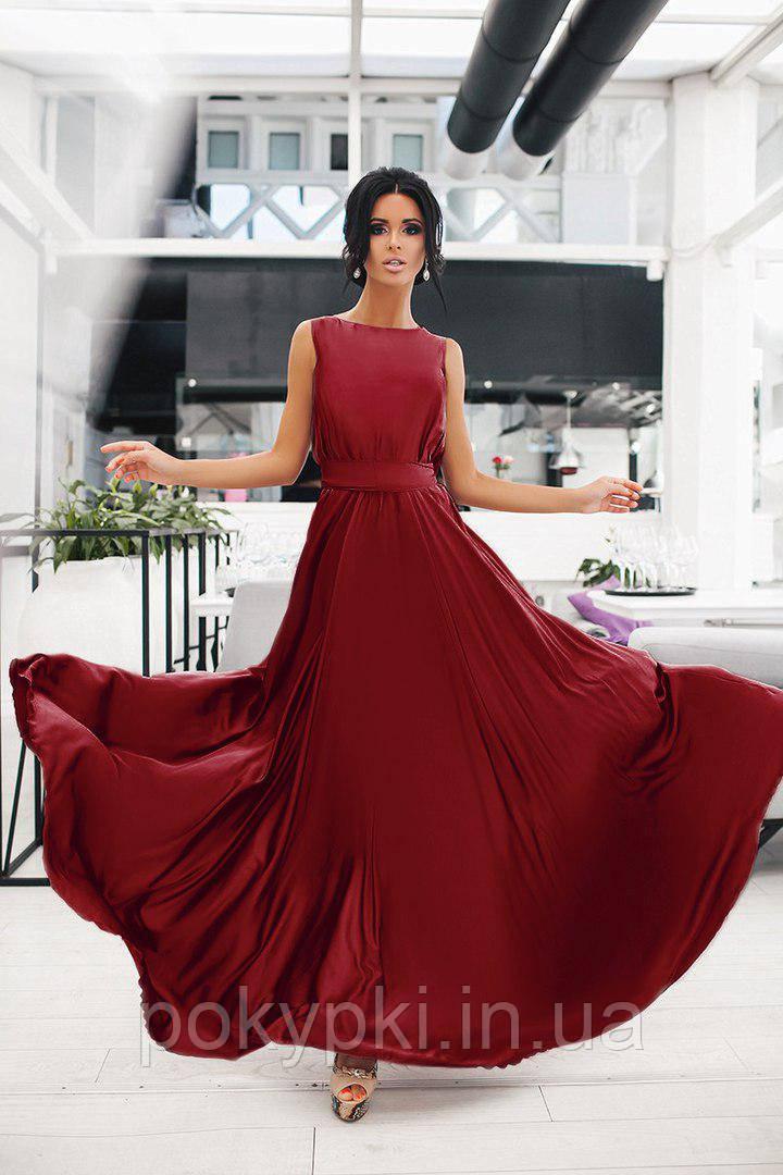 Вечернее платья в пол солнце клеш бордового цвета, выпускные платья  недорого от производителя -