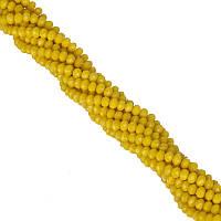 Бусины под Хрусталь Желтые матовые Рондель 4 мм 100 шт/нить
