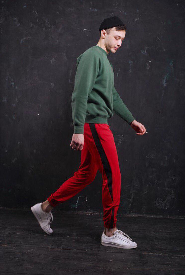 f4643792 Спортивные штаны зауженные красные с черными полосками мужские модные  молодежные новинка весна 2018 Рокки - Доберман