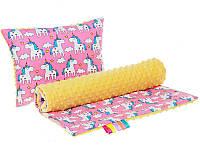 Комплект в детскую коляску BabySoon Пони Пинк одеяло 75х78 см подушка 30х40 см желтый плюш