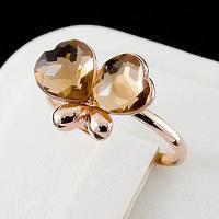 """Чудесное кольцо """"Два сердца"""" с кристаллами Swarovski, покрытое золотом 0759"""
