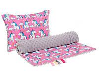 Комплект в детскую коляску BabySoon Пони Пинк одеяло 75х78 см подушка 30х40 см серый плюш