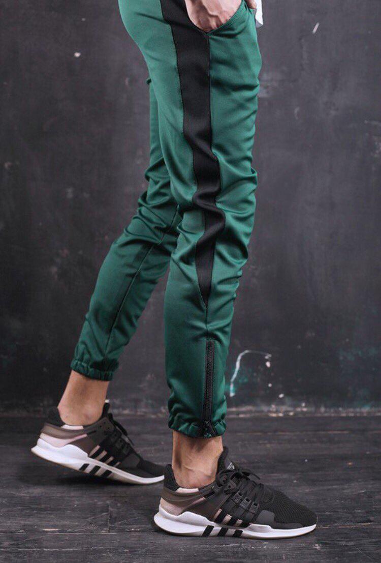 14c24bf6 Мужские спортивные штаны зеленые с одной черной полоской зауженные  молодежные S M L Рокки - Доберман шоп -