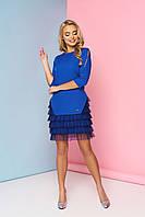 Женское нарядное платье с рюшами, электрик, креп костюмный, размеры от 44 до 48