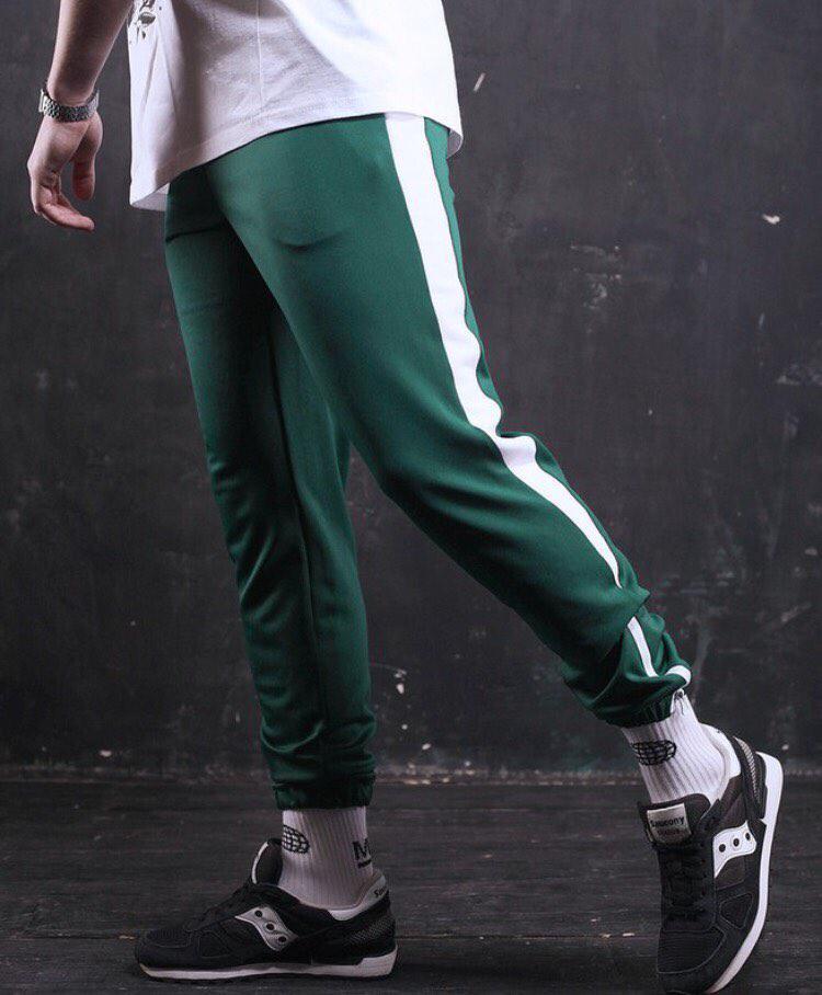 c5122ec4 Спортивные штаны мужские зеленые с белыми лампасами внизу с резинкой модные  летние крутые новинка Рокки -