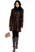 Женское кожаное пальто со съемным меховым воротником ARTICO