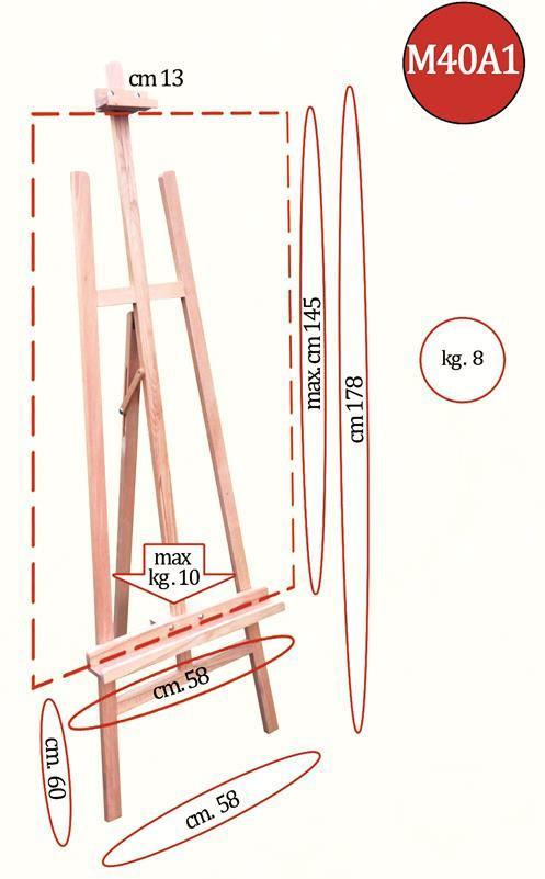 Мольберт №40а1 58,5*154см максимальный размер холста 130см