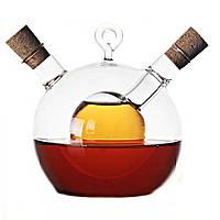 Емкость для масла и уксуса двойная стекло, 2 в 1, декоративная бутылка для масла