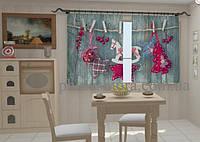 """Фото штора """"Новогодняя 2 для кухни"""" 150 х 250 см"""