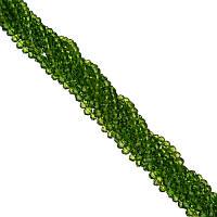Бусины под Хрусталь Темно-зеленые прозрачные Рондель 4 мм 100 шт/нить