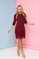Женское нарядное платье с рюшами, вишня, креп костюмный, размеры от 44 до 48