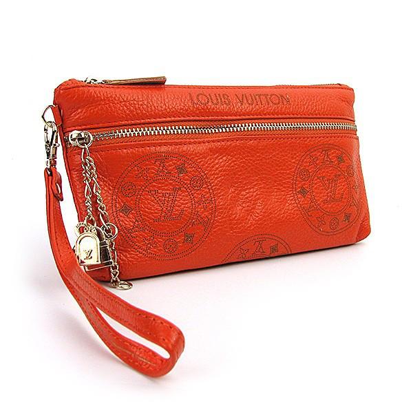 Клатч - кошелек женский натуральная кожа оранжевый Louis Vuitton