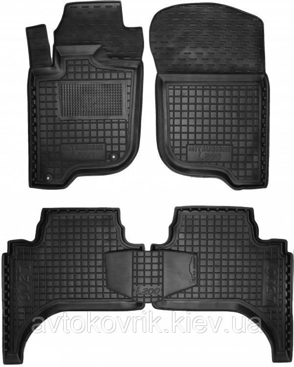 Полиуретановые коврики в салон Mitsubishi L200 IV короткая база 2006-2013 (AVTO-GUMM)