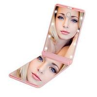Зеркало для макияжа с подсветкой и увеличением M9 pink