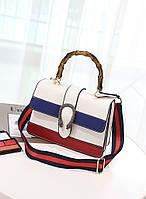 Модная женская сумка с бамбуковой ручкой в стиле Gucci белого цвета