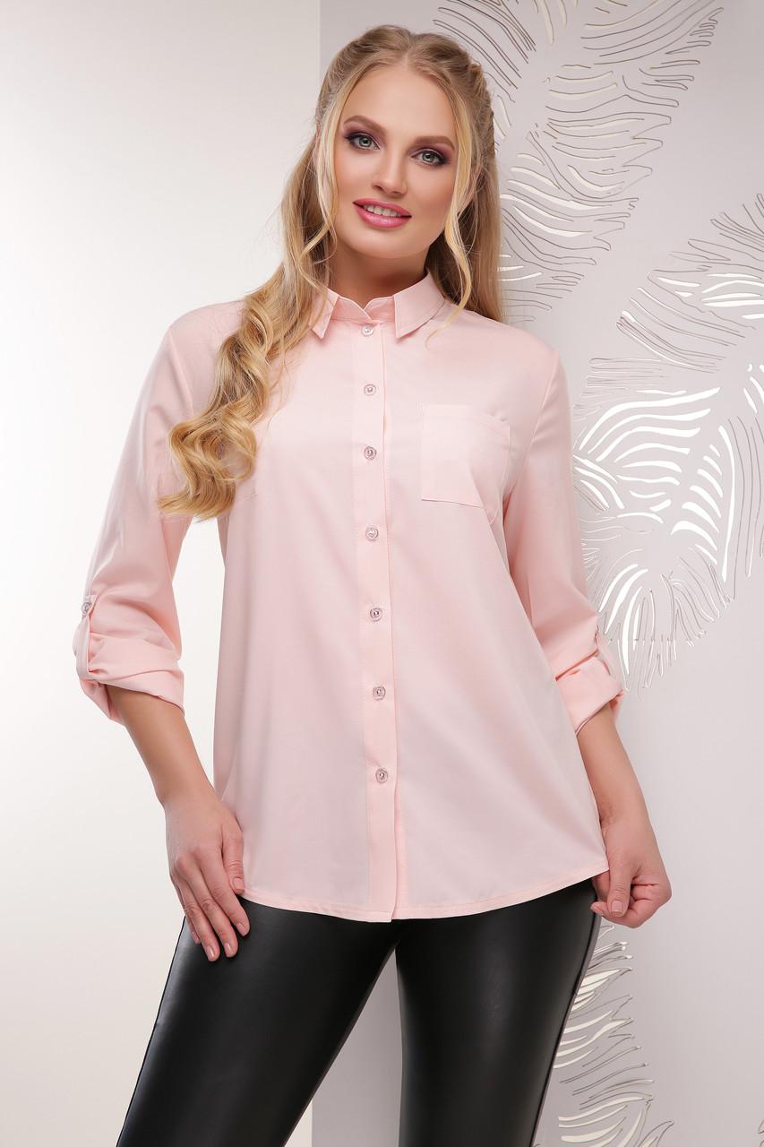 Женская легкая блуза 52 размер цвета пудра