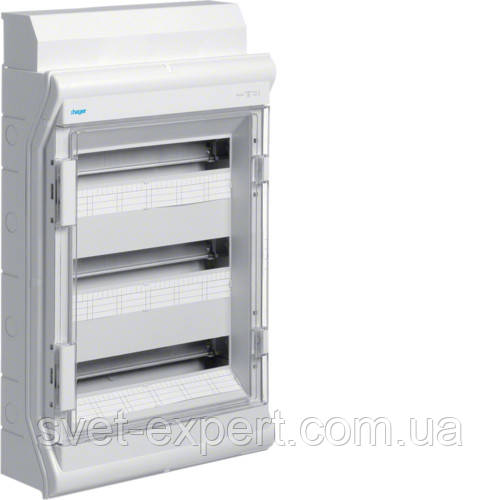 Щит Hager розподільчий на 54(60) модулів, з/у з прозорими дверцятами, IP65, VECTOR
