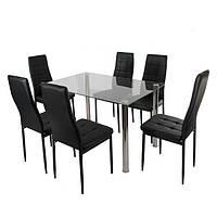 Стеклянный стол + 6 стульев NIKO
