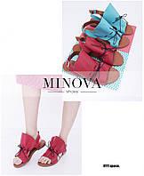Кожаные босоножки на плоской подошве на регулируемых шнурках ТМ Минова (р.36-41)