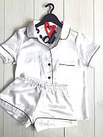 Пижама белая рубашка и шорты женская из атласа