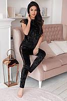Женский брючный костюм из муарового велюра с французским кружевом, цвет черный