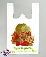 Пакет майка «Овощи» размер 290х470, цвет белый