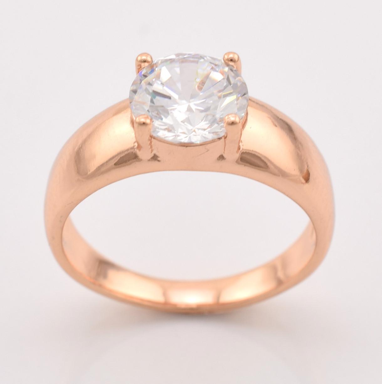 """Кольцо """"Нью-Йорк"""" 12838 размер 16,  ширина 8 мм, вес 3.2 г, белые фианиты, позолота РО"""