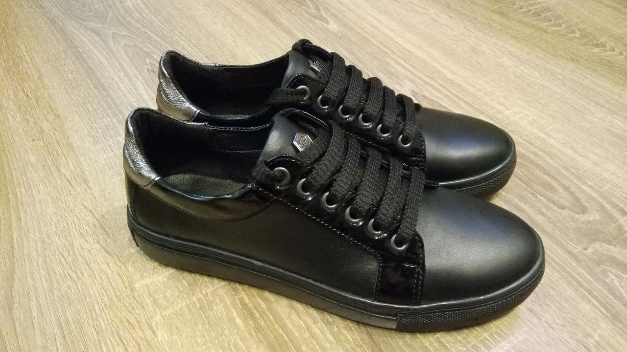 4f9ed4388 Женские повседневные кожаные кеды черный цвет - Женская обувь от  производителей в Харькове