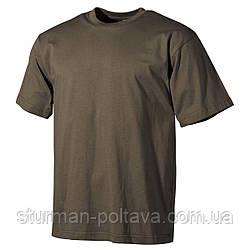 Футболка мужская армейская   однотоная  MFH  цвет олива   хлопок плотность  -  170g/m²  Германия
