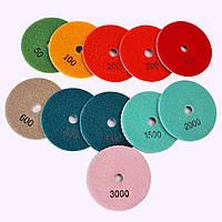 """Гибкие полировальные круги """"3-цвета"""", алмазные липучки трехцветные, """"Черепашки"""" для полировки гранита d100mm"""