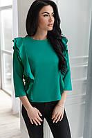 Женская легка блузка из ткани супер- софт, сзади на пуговках, цвет зеленый