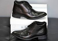 Мужские зимние черные кожаные ботинки №745
