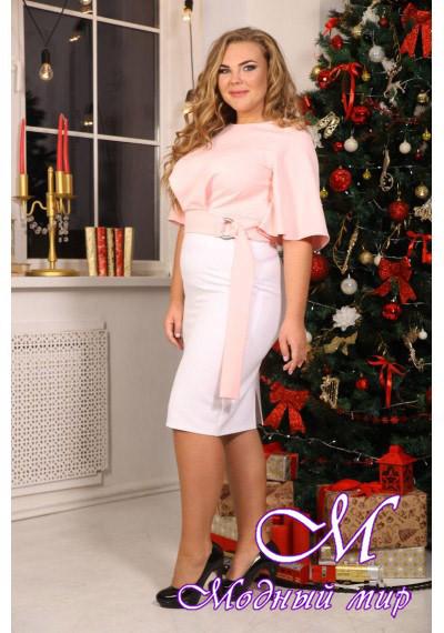 Светло-розовая женская блуза батал (р. 48-90) арт. Лидс