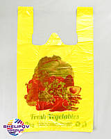 Пакет майка «Овощи» размер 290х470, цвет желтый