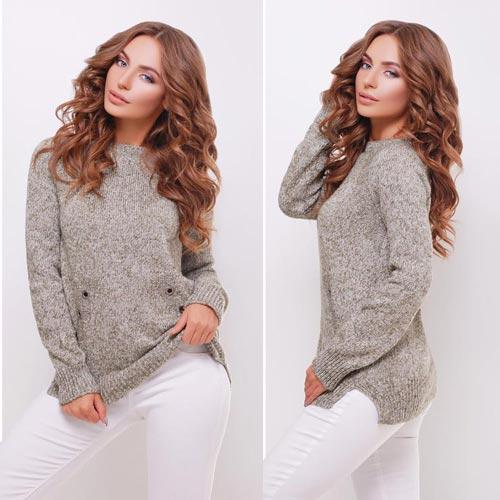 Женский свитер реглан с разрезами по бокам - 7 расцветок