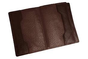 Обкладинка для документів паспорта автодокументів Grande Pelle 140х100х20 глянцева шкіра шоколад
