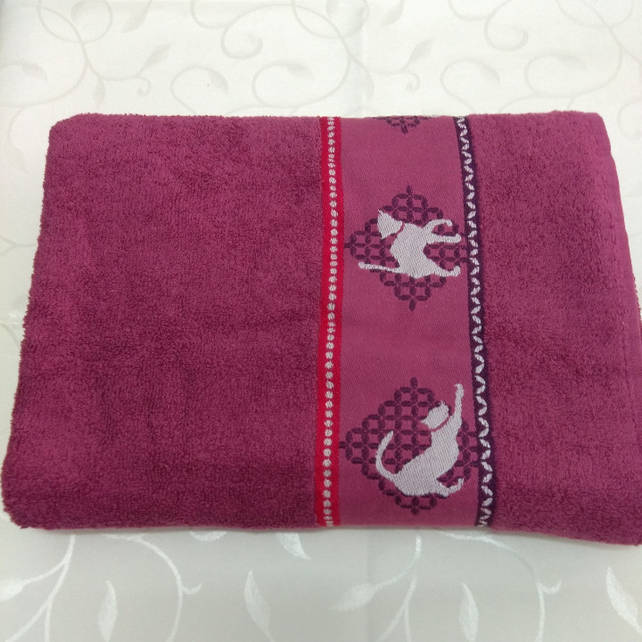 Детское банное полотенце, бордовое