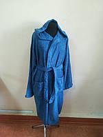 Махровый мужской халат синего цвета (M)