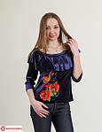 Стильная блуза из бархата с воланами и вышивкой, фото 2