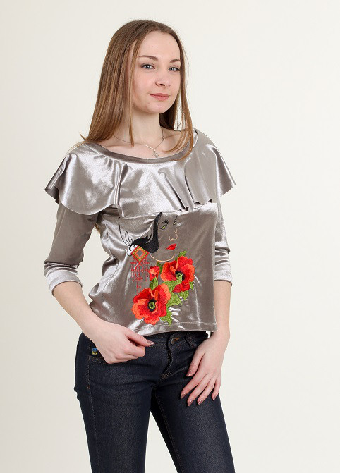 Стильная блуза из бархата с воланами и вышивкой