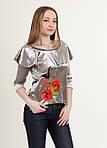 Модная бархатная блуза с воланами украшена вышивкой, фото 3