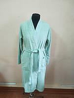 Махровый  халат мятного цвета (M)