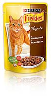 [ Friskies 100 гр ] Корм для дорослих котів з яловичиною та морквою
