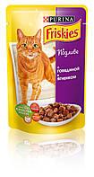 [ Friskies 100 гр ] Корм для дорослих котів з яловичиною та ягням