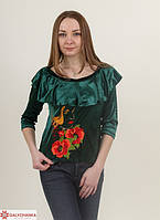 Изумрудная женская блуза с вышитым цветком