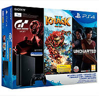 Игровая приставка Sony PlayStation 4 Slim 1TB + 3 игры (Gran Turismo, Uncharted, Knack 2)