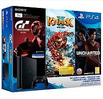 Игровая приставка Sony PlayStation 4 Slim 1TB + 3 игры (Gran Turismo, Uncharted, Knack 2)