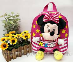 Детский рюкзак с игрушкой для девочки Минни Маус малиновый